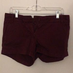 J Crew Burgundy Chino Shorts